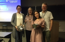 Luquin Gan and Xinye Li, 2018 co-recipients with department chair, Karen Bandeen-Roche and Honors and Awards Committee chair, Martin Lindquist