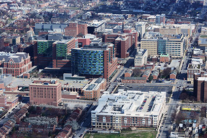 aerial view of baltimore city