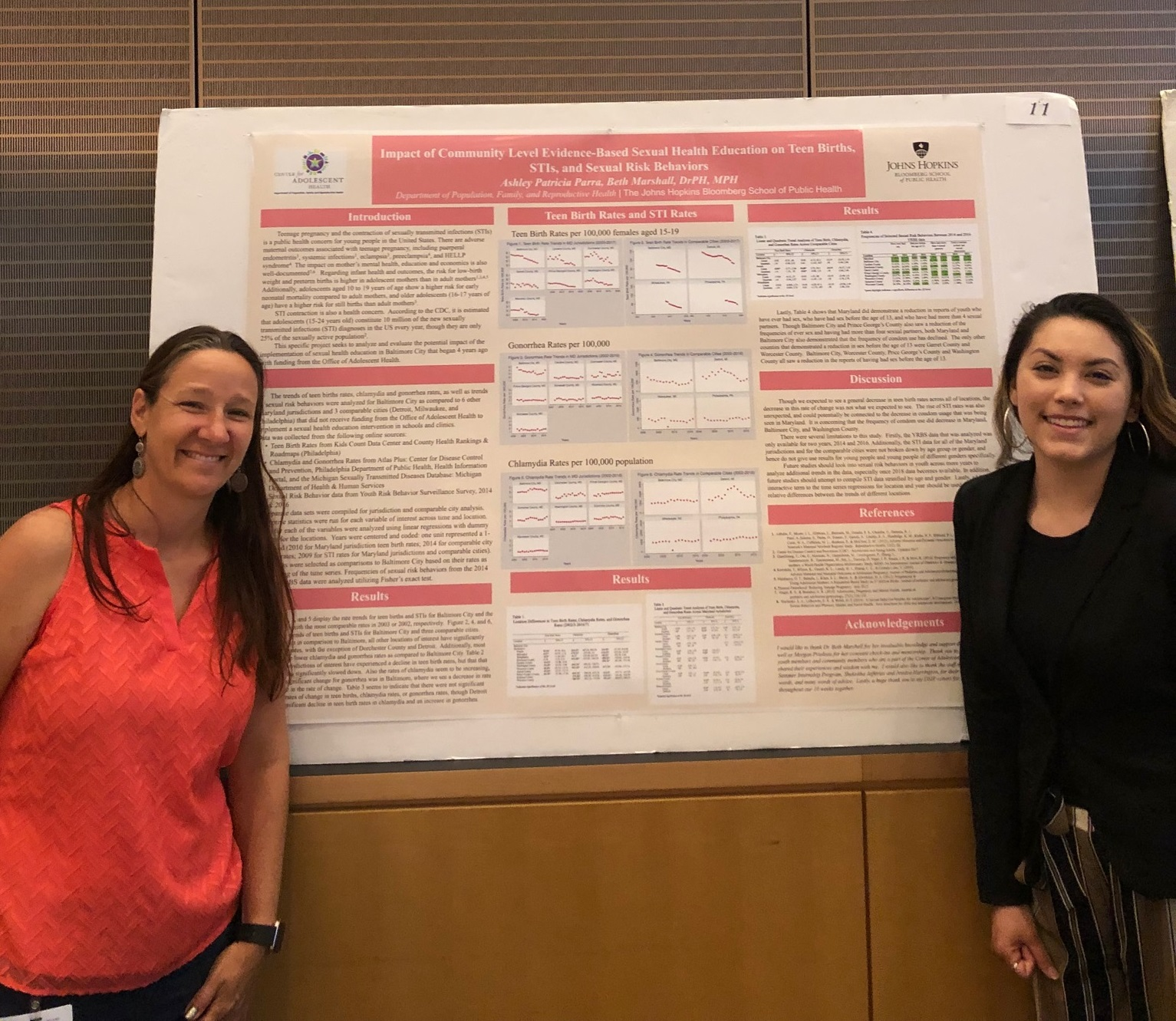 Beth Marshall and Ashley Patricia Parra standing next to Ashley's research poster