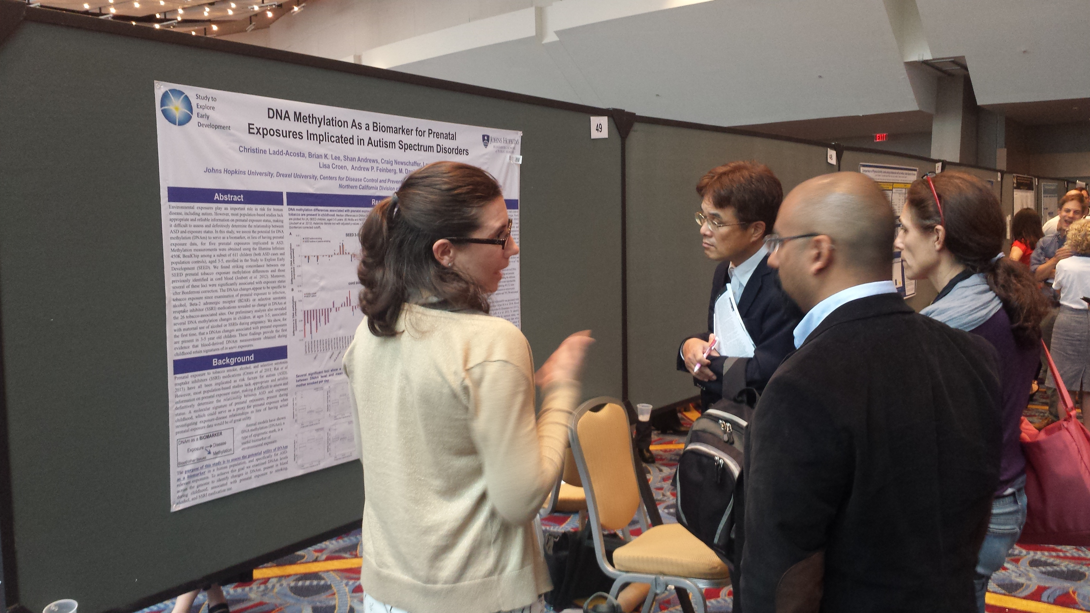 "Assistant Scientist Christine Ladd-Acosta, PhD, explains her poster about ""DNA Methylation as a Biomarker for Prenatal Exposures Implicated in Autism Spectrum Disorders.""  She is with the Department of Epidemiology."