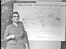 Dr. Charlotte Silverman charts the spread of the 1957 Asian flu. (Johns Hopkins File 7)