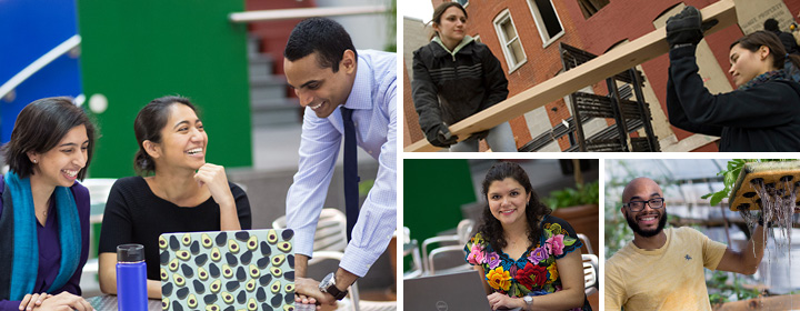 montage of active students
