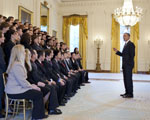 President Barack Obama greets the 2010 PECASE recipients in the East Room of the White House, Oct. 14, 2011.  (Official White House Photo by Pete Souza)