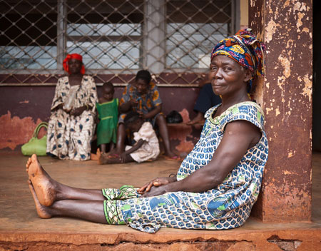 Woman at health clinic in Cameroon