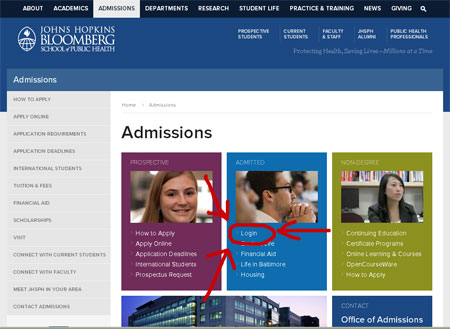 Screen shot of Admissions landing page