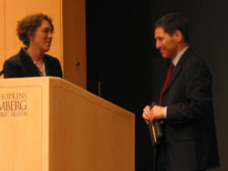 Prof. Lynn Goldman introduces Dr. Thomas Frieden