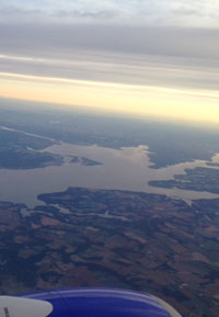 flying over the Chesapeake