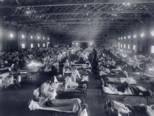 An emergency hospital at Camp Funston, Kansas, is packed with patients felled by the 1918 influenza epidemic.