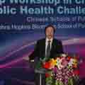 Dean Hu of Peking University School of Public Health gives workshop welcome.
