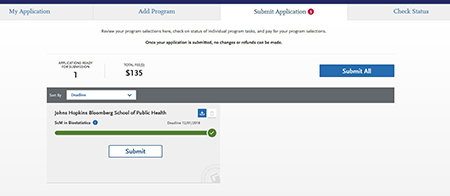 SOPHAS Submit Application Page