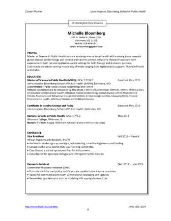 hybrid_resume_sample chronological style resume - Public Health Resume