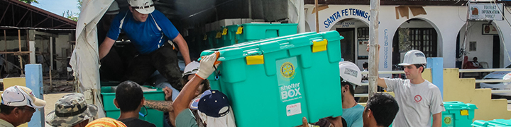 Workers Distributing Shelter Boxes