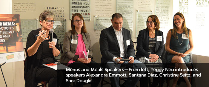 Menus and Meals Speakers—From left, Peggy Neu introduces speakers Alexandra Emmott, Santana Diaz, Christine Seitz, and Sara Douglis.
