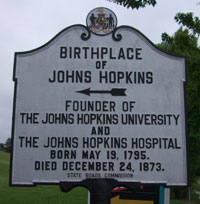 Historical marker for Johns Hopkins birthplace