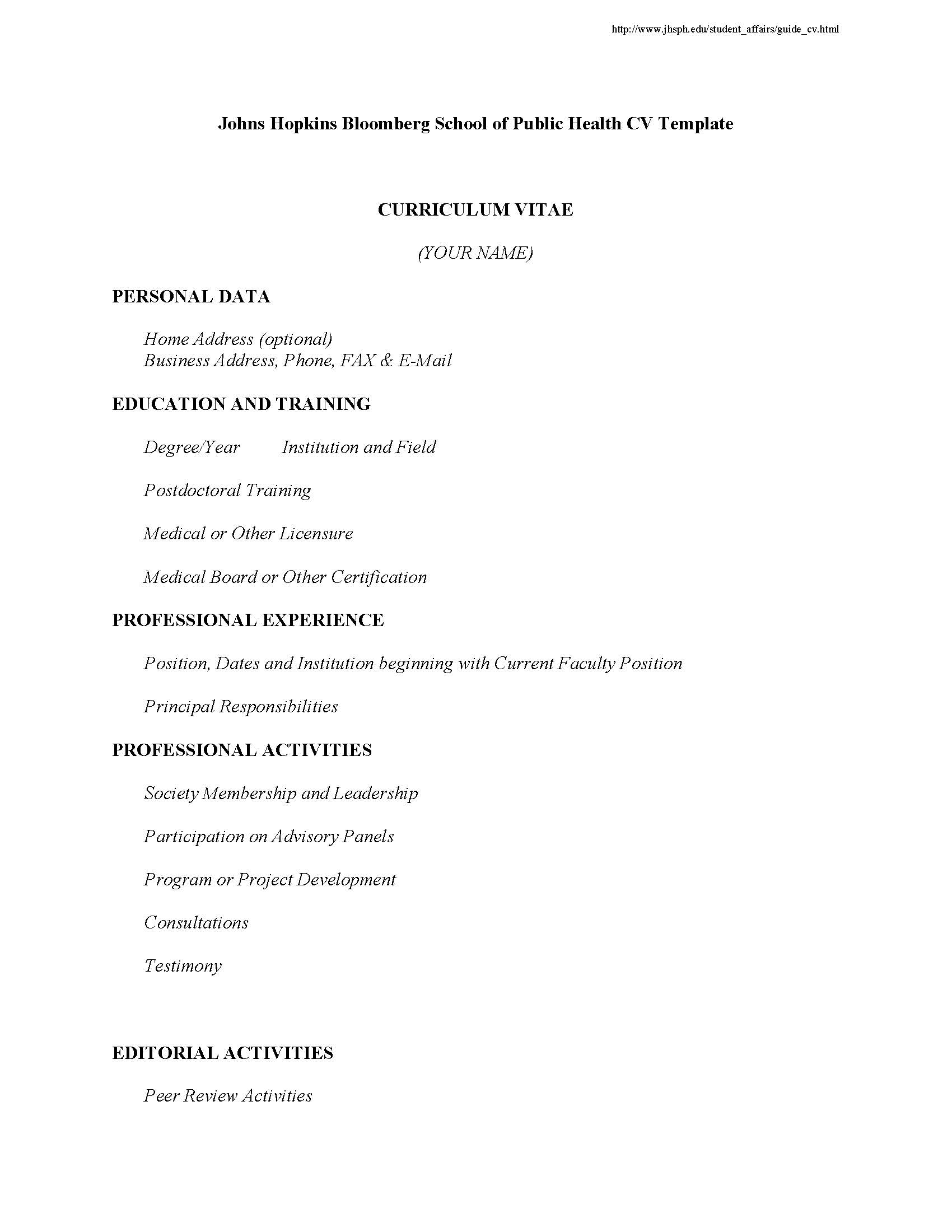 JHSPH CV Template  Public Health Resume Sample