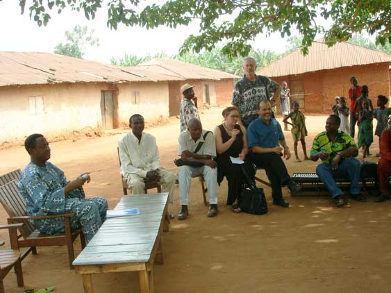 IIP researchers at a community meeting in Benin