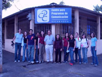 Nicaragua group in front of Sign