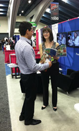 A current student discusses JHSPH programs with a prospective student.