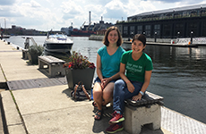 Elizabeth Abrams and Sally Yan, new students Explore Baltimore in Fells Point