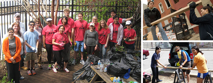 grid of photos of JHSPH students, staff, and faculty volunteering around Baltimore