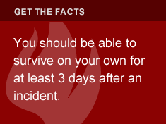 You should be able to survive on your own for at least 3 days after an incident.