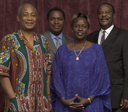 "Members of the Ugandan Parliament (l to r): David B. Matovu, Elioda ""Elly"" Tumwesigye, Jesca Eriyo and Johnny Bulamu"