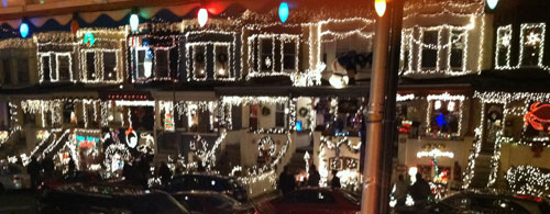 Lights in Baltimore's Hamden neighborhood