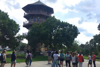 New students view the Patterson Park pagoda while on an Explore Baltimore tour of Fells Point
