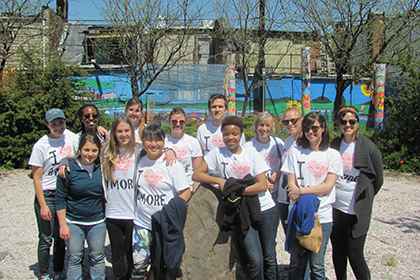 Students volunteering in Baltimore